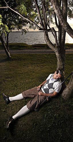 sleeping golfer